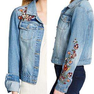 Jessica Simpson Floral Embroidered Denim Jacket